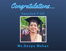 Ms. Deepa Mohan awarded Ph.D from NIT Calicut