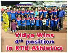 Vidya wins 4th position in KTU Athletics